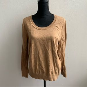 Banana Republic Camel and Gold Beaded Sweater L